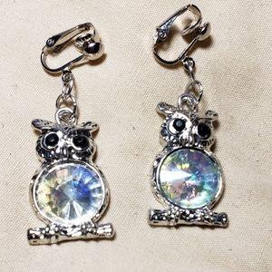 """1.5"""" Clipon Silver Cryst LRG Belly Owl Earrings"""